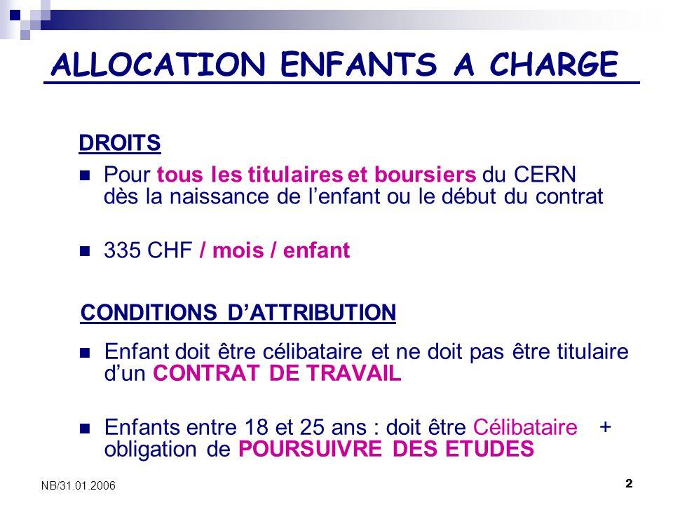 2 NB/31.01.2006 ALLOCATION ENFANTS A CHARGE Pour tous les titulaires et boursiers du CERN dès la naissance de lenfant ou le début du contrat 335 CHF /