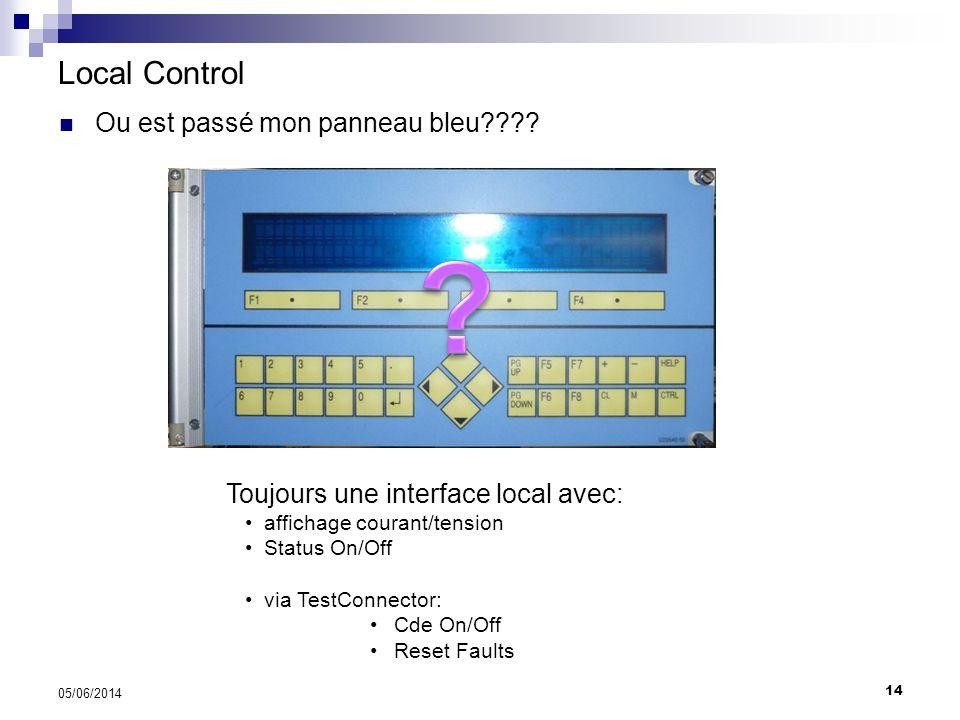14 05/06/2014 Local Control Relays: 60v DC 1A Action in 3msec Ou est passé mon panneau bleu???? Toujours une interface local avec: affichage courant/t