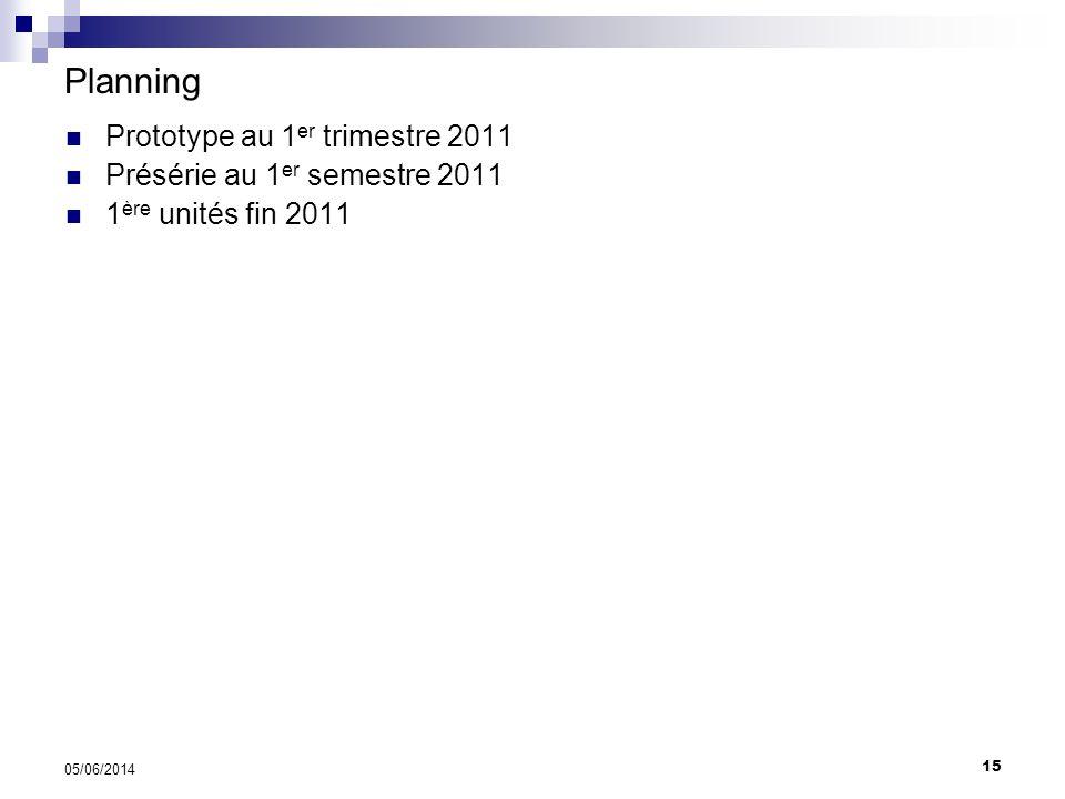 15 05/06/2014 Planning Relays: 60v DC 1A Action in 3msec Prototype au 1 er trimestre 2011 Présérie au 1 er semestre 2011 1 ère unités fin 2011