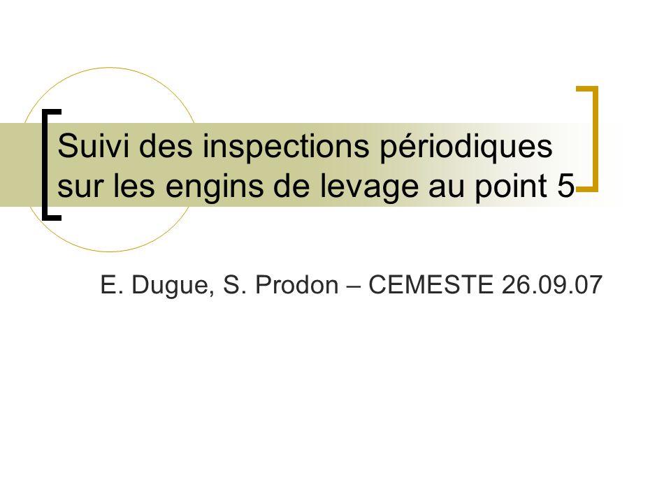 Suivi des inspections périodiques sur les engins de levage au point 5 E.
