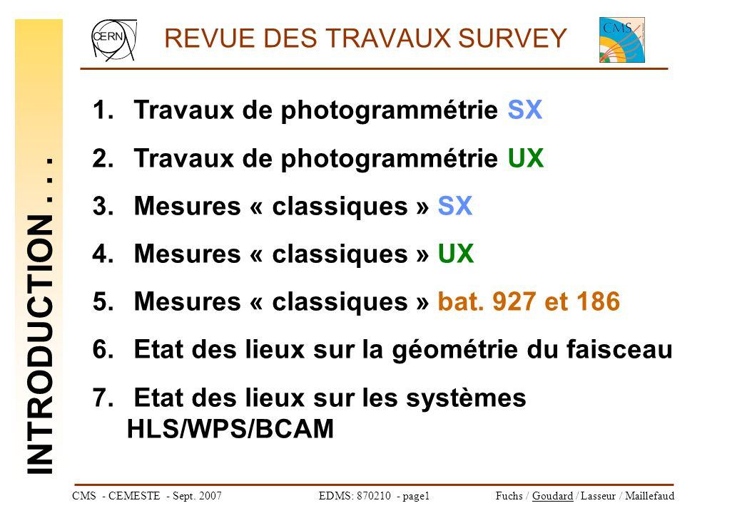 CMS - CEMESTE - Sept. 2007EDMS: 870210 - page1Fuchs / Goudard / Lasseur / Maillefaud REVUE DES TRAVAUX SURVEY 1. Travaux de photogrammétrie SX 2. Trav