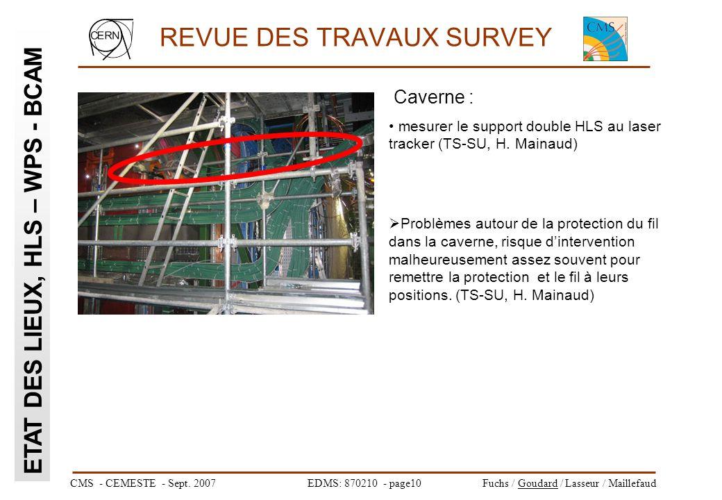 CMS - CEMESTE - Sept. 2007EDMS: 870210 - page10Fuchs / Goudard / Lasseur / Maillefaud REVUE DES TRAVAUX SURVEY ETAT DES LIEUX, HLS – WPS - BCAM Cavern