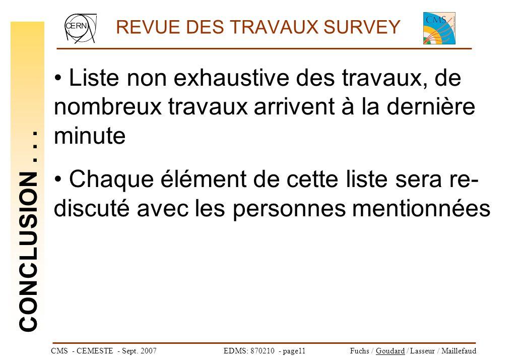 CMS - CEMESTE - Sept. 2007EDMS: 870210 - page11Fuchs / Goudard / Lasseur / Maillefaud REVUE DES TRAVAUX SURVEY CONCLUSION... Liste non exhaustive des