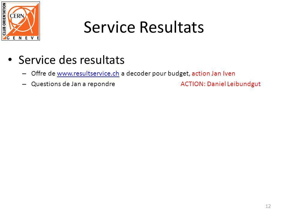 Service Resultats Service des resultats – Offre de www.resultservice.ch a decoder pour budget, action Jan Ivenwww.resultservice.ch – Questions de Jan a repondre ACTION: Daniel Leibundgut 12