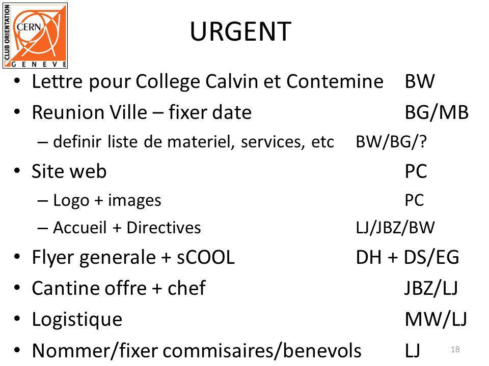 URGENT Lettre pour College Calvin et Contemine BW Reunion Ville – fixer dateBG/MB – definir liste de materiel, services, etcBW/BG/.