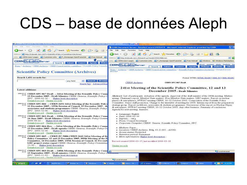 CDS – base de données Aleph