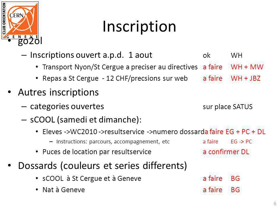 Inscription go2ol – Inscriptions ouvert a.p.d. 1 aout okWH Transport Nyon/St Cergue a preciser au directivesa faire WH + MW Repas a St Cergue - 12 CHF