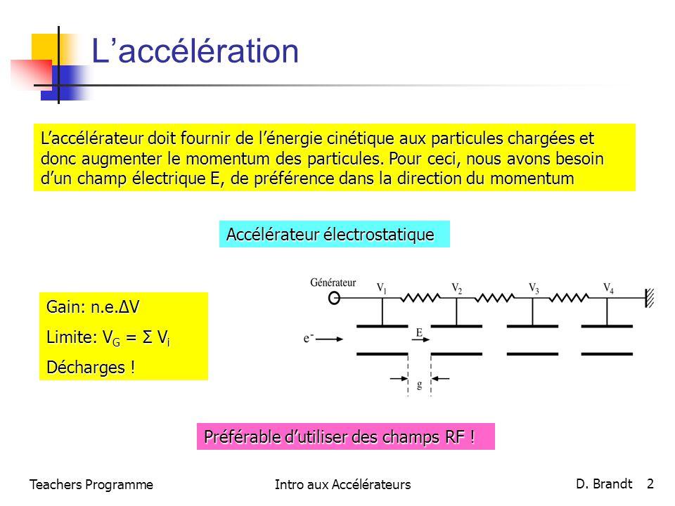 Laccélération Laccélérateur doit fournir de lénergie cinétique aux particules chargées et donc augmenter le momentum des particules. Pour ceci, nous a