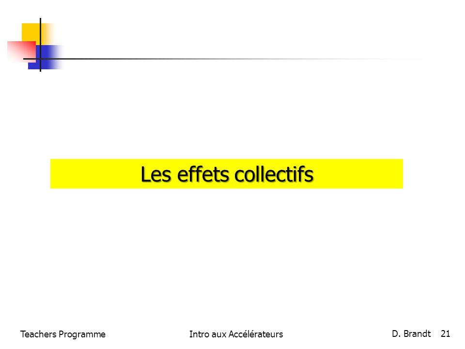 Teachers ProgrammeIntro aux Accélérateurs D. Brandt 21 Les effets collectifs