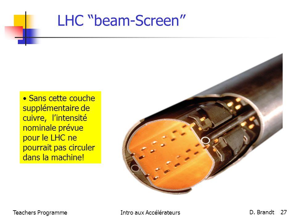LHC beam-Screen Sans cette couche supplémentaire de cuivre, lintensité nominale prévue pour le LHC ne pourrait pas circuler dans la machine! Teachers
