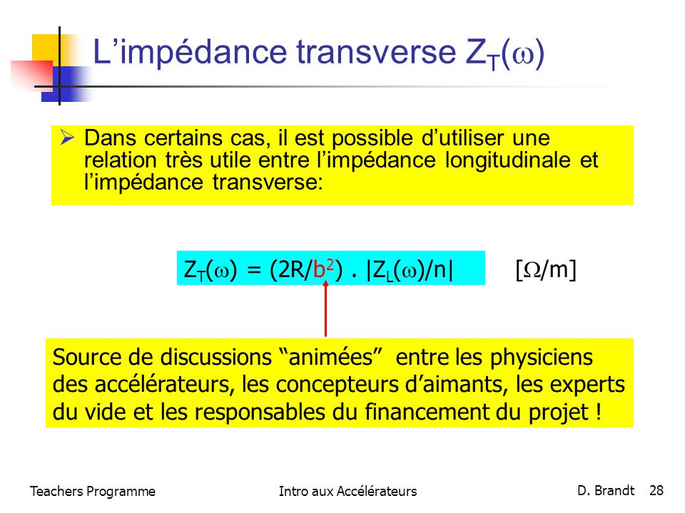 Limpédance transverse Z T ( ) Dans certains cas, il est possible dutiliser une relation très utile entre limpédance longitudinale et limpédance transv