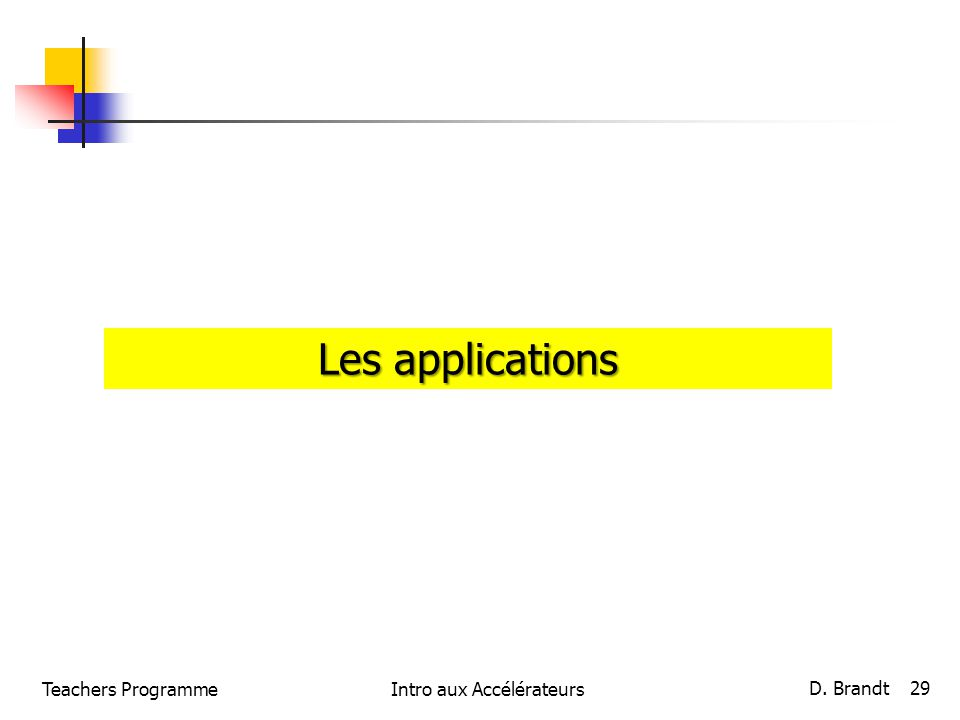 Teachers ProgrammeIntro aux Accélérateurs D. Brandt 29 Les applications