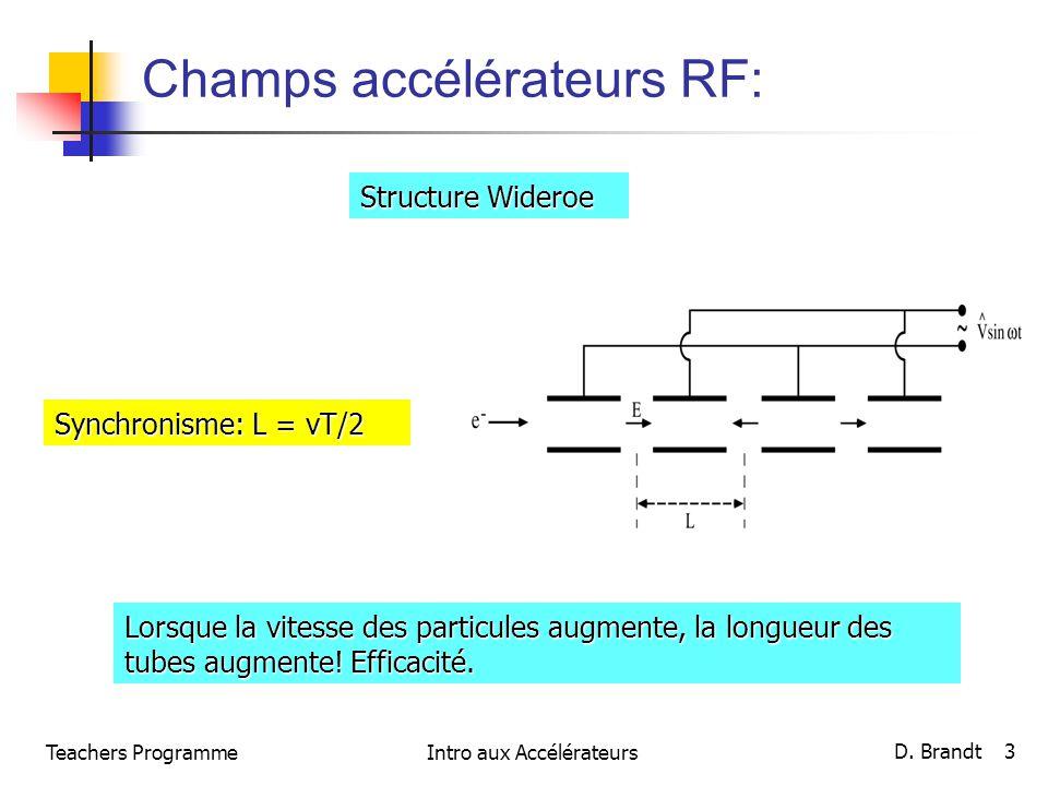 Champs accélérateurs RF: Structure Wideroe Synchronisme: L = vT/2 Lorsque la vitesse des particules augmente, la longueur des tubes augmente! Efficaci