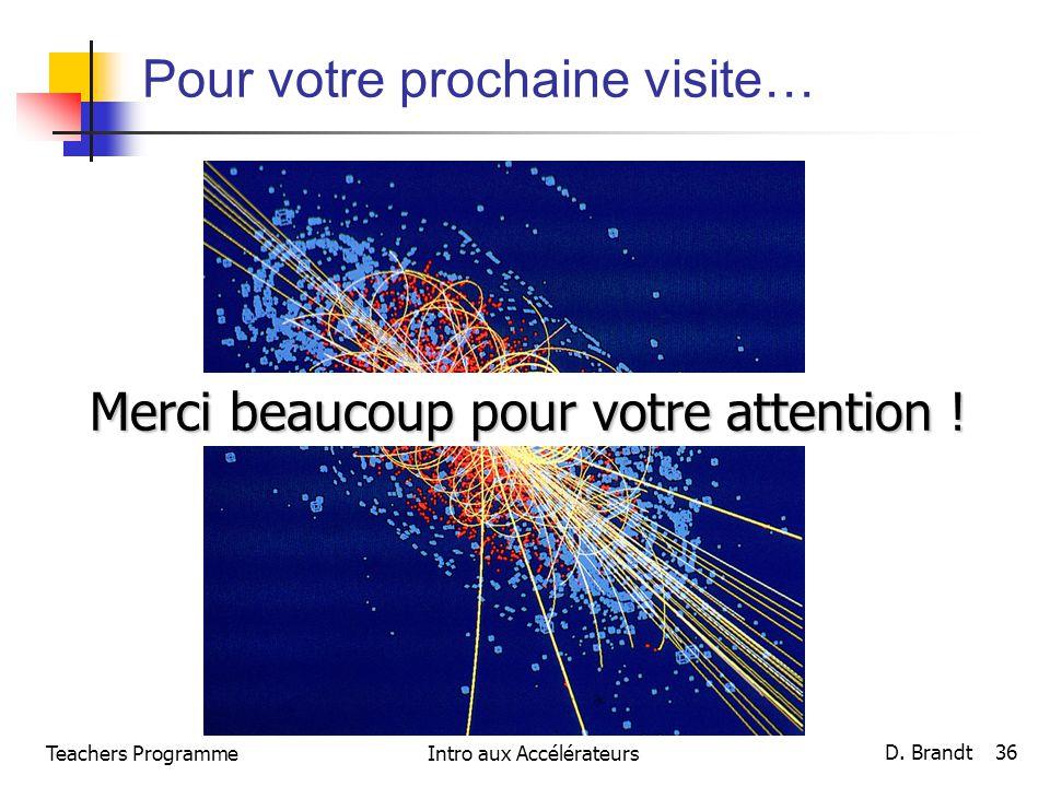 Pour votre prochaine visite… Merci beaucoup pour votre attention ! Teachers Programme D. Brandt 36 Intro aux Accélérateurs