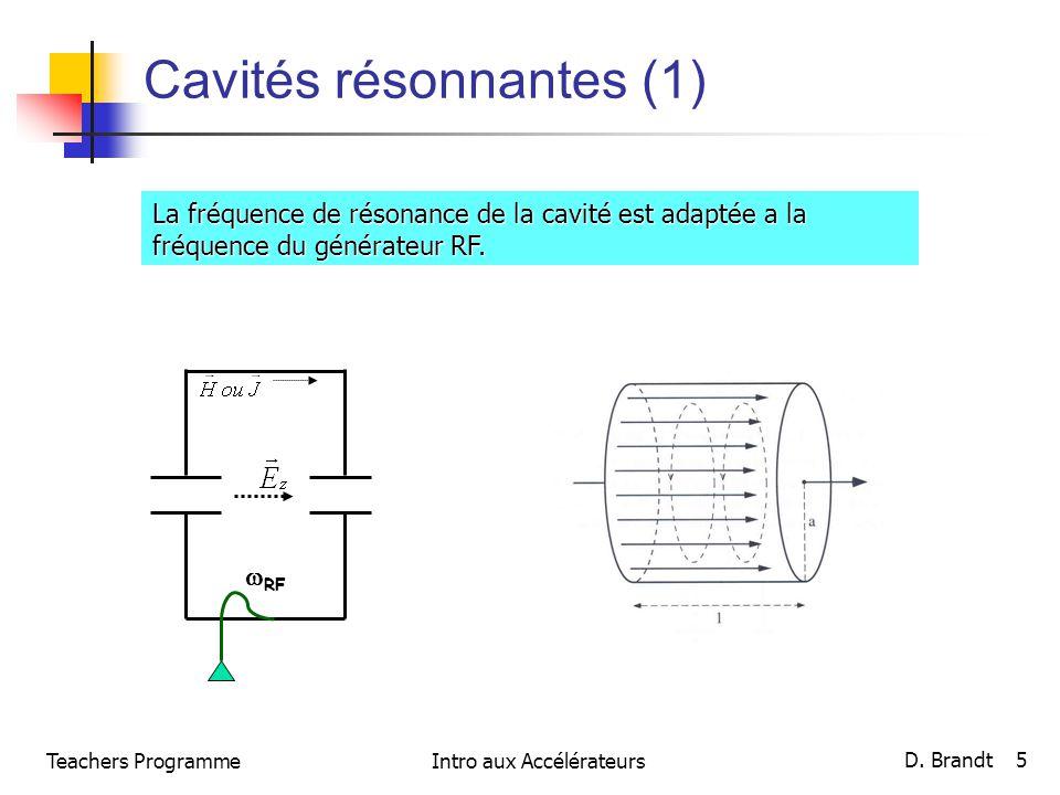Cavités résonnantes (1) La fréquence de résonance de la cavité est adaptée a la fréquence du générateur RF. RF Teachers Programme D. Brandt 5 Intro au