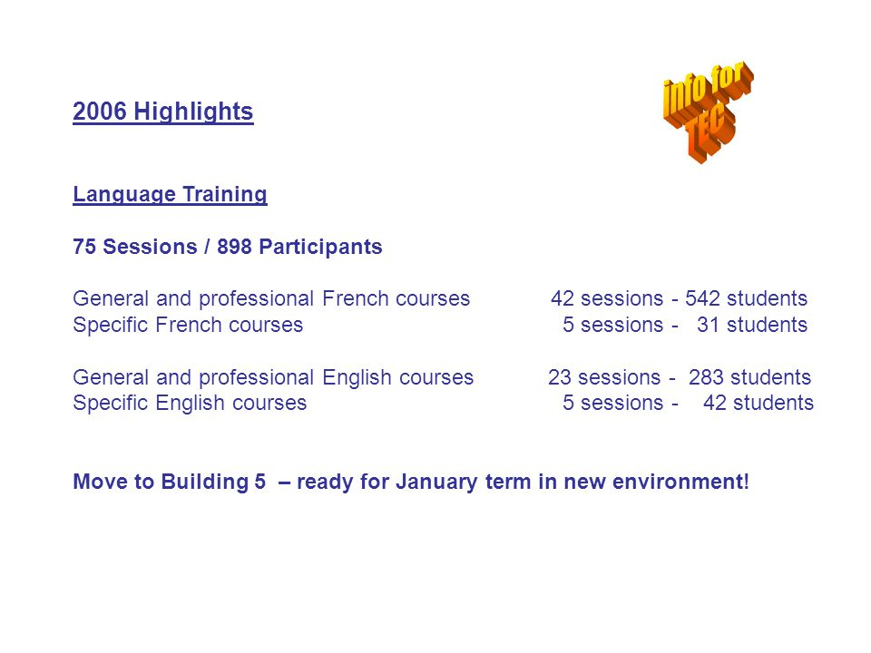 2006 Highlights Language Training 75 Sessions / 898 Participants General and professional French courses 42 sessions - 542 students Specific French co