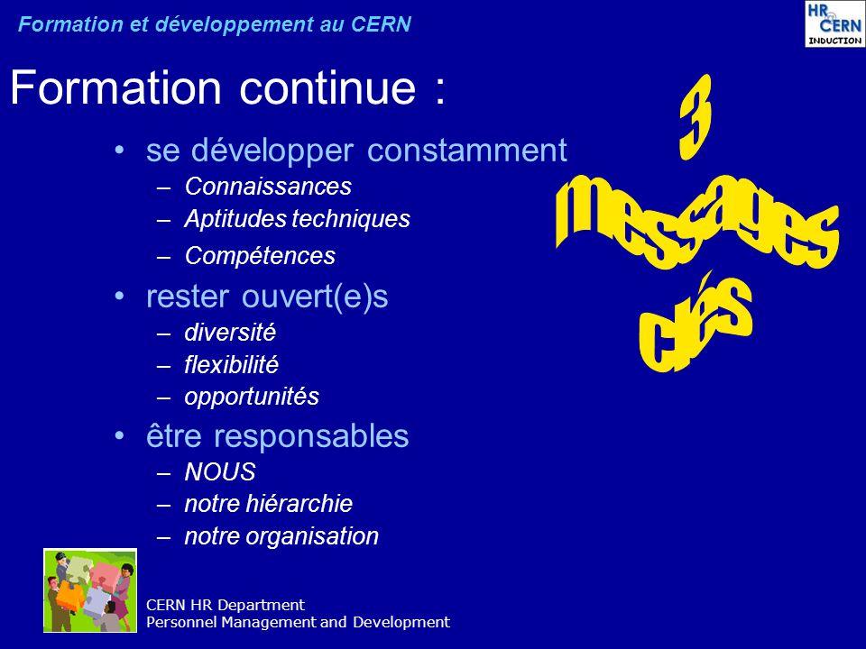 CERN HR Department Personnel Management and Development Formation continue : se développer constamment –Connaissances –Aptitudes techniques –Compétenc