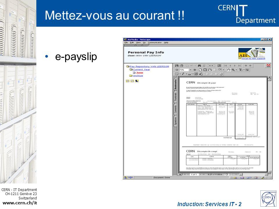 CERN - IT Department CH-1211 Genève 23 Switzerland www.cern.ch/i t Induction: Services IT - 13 Plus dinformation CERN home IT home –Tutorials –Webcasts IT flyer –http://cern.ch/it-dep/need-helphttp://cern.ch/it-dep/need-help