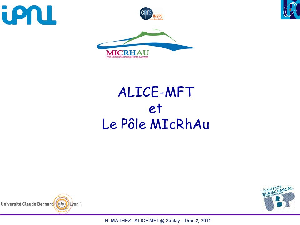 12H. MATHEZ– ALICE MFT @ Saclay – Dec. 2, 2011 FEAFS Global Architecture (s-CMS) Switched CSA