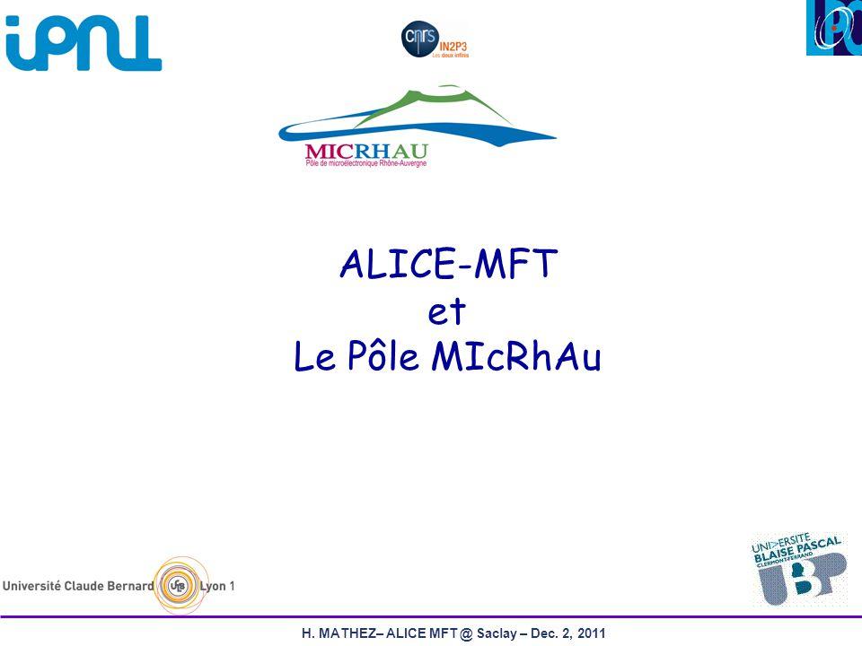 H. MATHEZ– ALICE MFT @ Saclay – Dec. 2, 2011 ALICE-MFT et Le Pôle MIcRhAu
