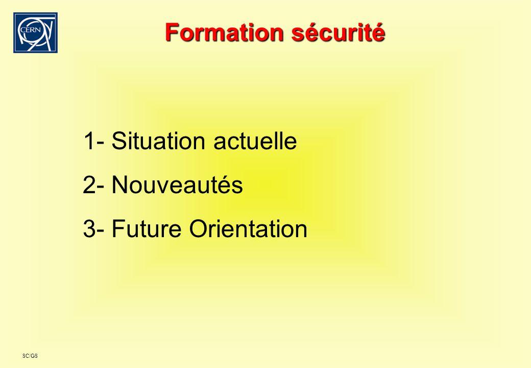 SC/GS Formation sécurité 1- Situation actuelle 2- Nouveautés 3- Future Orientation