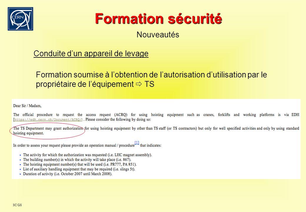 SC/GS Formation sécurité Nouveautés Conduite dun appareil de levage Formation soumise à lobtention de lautorisation dutilisation par le propriétaire d