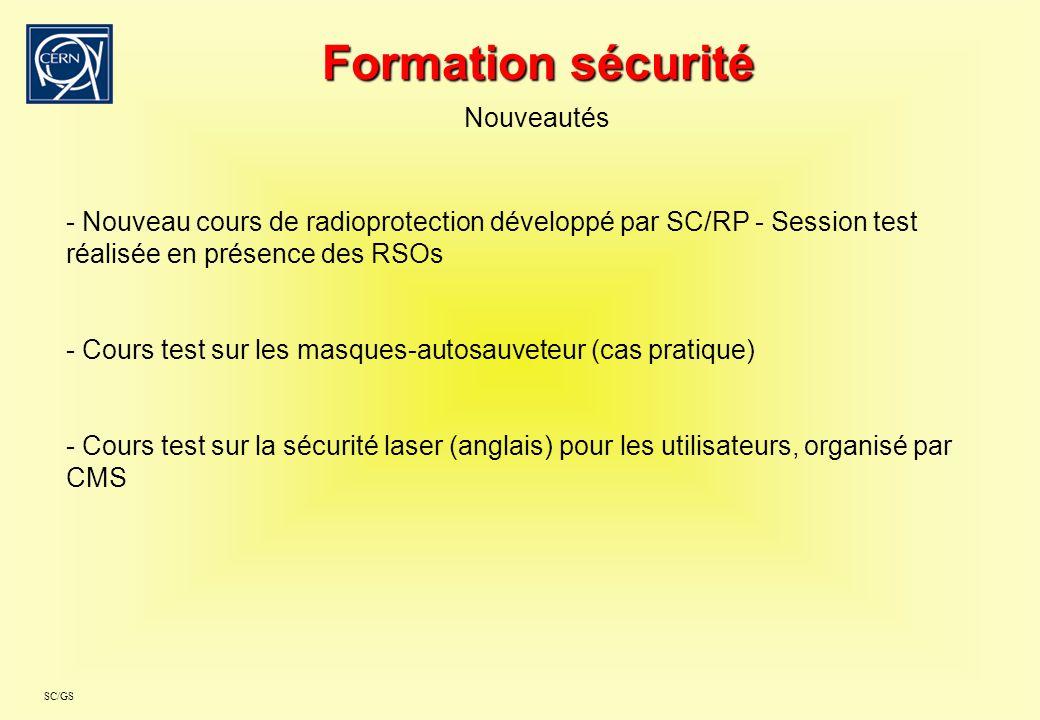 SC/GS Formation sécurité Nouveautés - Nouveau cours de radioprotection développé par SC/RP - Session test réalisée en présence des RSOs - Cours test s