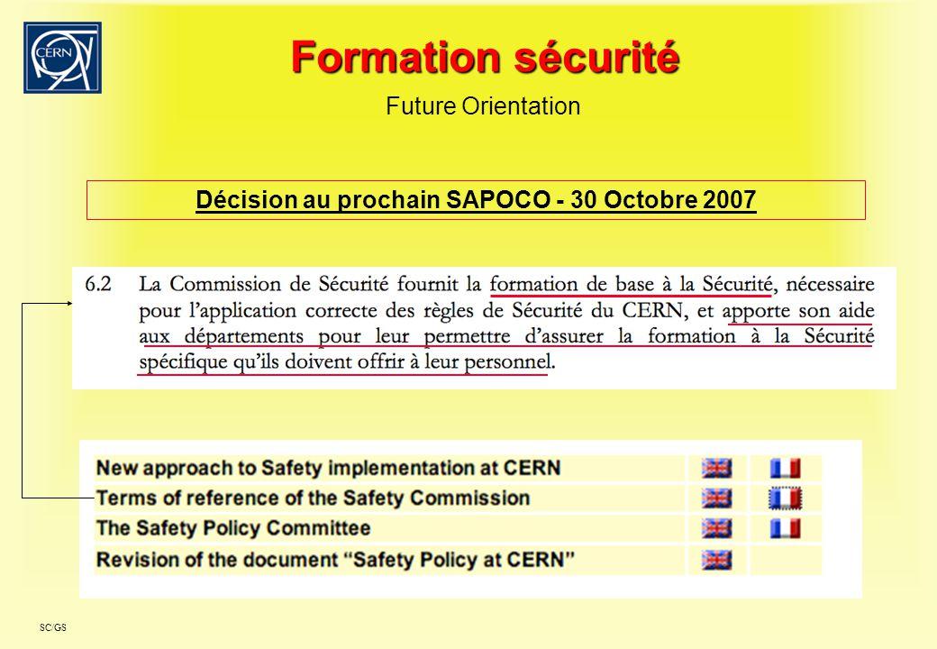 SC/GS Formation sécurité Questions?