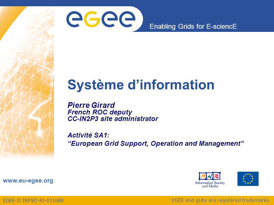 EGEE-II INFSO-RI-031688 Enabling Grids for E-sciencE www.eu-egee.org EGEE and gLite are registered trademarks Système dinformation Pierre Girard French ROC deputy CC-IN2P3 site administrator Activité SA1: European Grid Support, Operation and Management