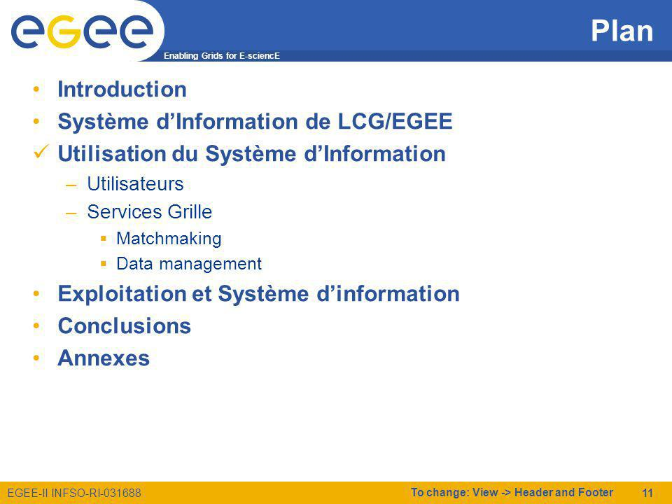 Enabling Grids for E-sciencE EGEE-II INFSO-RI-031688 To change: View -> Header and Footer 11 Plan Introduction Système dInformation de LCG/EGEE Utilisation du Système dInformation –Utilisateurs –Services Grille Matchmaking Data management Exploitation et Système dinformation Conclusions Annexes