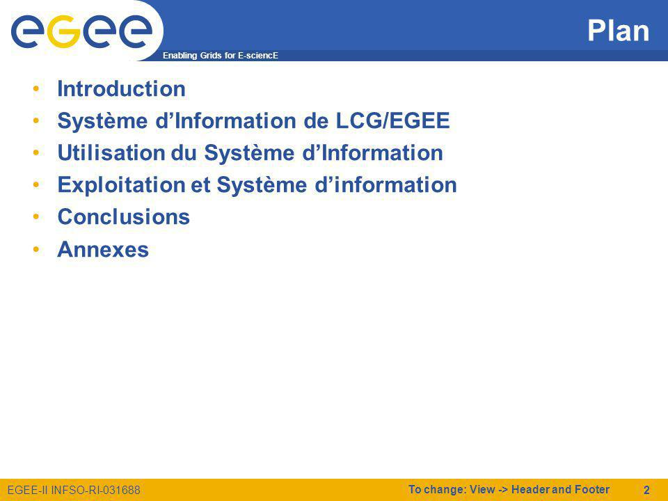 Enabling Grids for E-sciencE EGEE-II INFSO-RI-031688 To change: View -> Header and Footer 23 Liens utiles Tutorial LDAP, http://www-sop.inria.fr/semir/personnel/Laurent.Mirtain/LDAP.html GSTAT, http://goc.grid.sinica.edu.tw/gstat/ http://goc.grid.sinica.edu.tw/gstat/ GOC DB, https://goc.grid-support.ac.uk/gridsite/gocdb2/ SAM, https://lcg-sam.cern.ch:8443/sam/sam.py FCR, https://lcg-fcr.cern.ch:8443/fcr/fcr.cgi Projet EGEE, http://www.eu-egee.org/ http://www.eu-egee.org/ Portail des opérations dEGEE, http://cic.gridops.org/