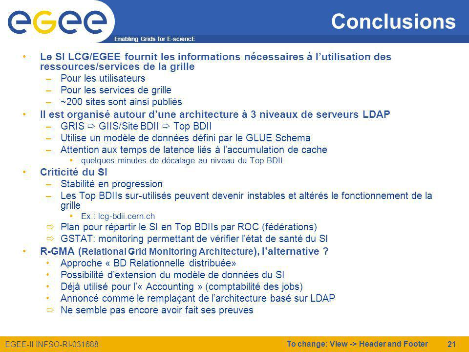 Enabling Grids for E-sciencE EGEE-II INFSO-RI-031688 To change: View -> Header and Footer 21 Conclusions Le SI LCG/EGEE fournit les informations néces