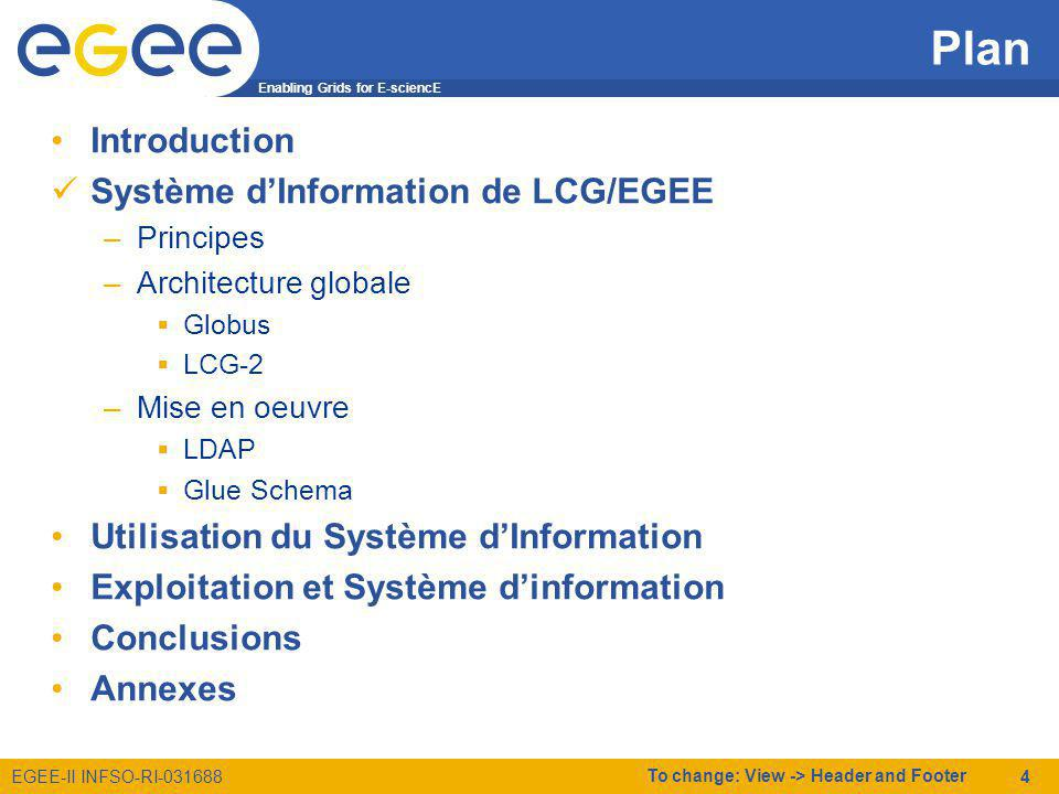 Enabling Grids for E-sciencE EGEE-II INFSO-RI-031688 To change: View -> Header and Footer 5 Système dInformation de LCG/EGEE Principes RC3RC2 RC1RB1 RB2LFC1 LFC2 Système dinformation Site IN2P3-CC VO1 VO2 VO3 Principes –Chaque site publie Une description des ressources/services quil fournit par VO Létat actuel de ses ressources (CPUs libres, Espace de stockage, etc.) –Chaque VO publie (anecdotique) Ce quelle a installé sur chaque site (Tags des Software Managers) –Les acteurs interrogent le SI pour savoir comment utiliser les services/ressources de la grille RB1 LFC1 RB2 LFC2 Interrogation Utilisation VO1