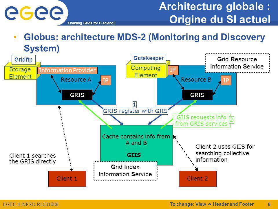 Enabling Grids for E-sciencE EGEE-II INFSO-RI-031688 To change: View -> Header and Footer 17 Services Grille Data management Le middleware exploite le SI pour rendre transparent la gestion des données distribuées sur la grille –Localise le catalogue de fichier de la VO –Exploite les données publiées par le SE pour opérer les transferts RC3RC2 RC1RB1 RB2LFC1 LFC2 Top BDII TAG VO3_APP1.0.2 Input datafile1 UI lcg-cr VO3 lcg-cr --vo VO3 file://monfic 2- Interroge 4- Transfert 1- Copie depuis lUI vers un SE LCG-UTILS Gridftp SE2 3- Enregistre # biomed, cclcgseli01.in2p3.fr, local, grid dn: GlueSALocalID=biomed,GlueSEUniqueID=cclcgseli01.in2p3.fr,Mds-Vo-name=local,o=grid … GlueSAPath: /grid/biomed GlueSAType: permanent GlueSALocalID: biomed GlueSAPolicyMaxFileSize: 10000 GlueSAPolicyMinFileSize: 1 GlueSAPolicyMaxData: 100 GlueSAPolicyMaxNumFiles: 10 GlueSAPolicyMaxPinDuration: 10 GlueSAPolicyQuota: 576716800 GlueSAPolicyFileLifeTime: permanent GlueSAStateAvailableSpace: 1822756076 GlueSAStateUsedSpace: 305668056 GlueSAAccessControlBaseRule: biomed # gsiftp, cclcgseli01.in2p3.fr, local, grid dn: GlueSEAccessProtocolLocalID=gsiftp, GlueSEUniqueID=cclcgseli01.in2p3.fr,Mds-Vo- name=local,o=grid … GlueSEAccessProtocolLocalID: gsiftp GlueSEAccessProtocolType: gsiftp GlueSEAccessProtocolEndpoint: gsiftp://cclcgseli01.in2p3.fr GlueSEAccessProtocolCapability: file transfer GlueSEAccessProtocolVersion: 1.0.0 GlueSEAccessProtocolPort: 2811 GlueSEAccessProtocolSupportedSecurity: GSI GlueChunkKey: GlueSEUniqueID=cclcgseli01.in2p3.fr