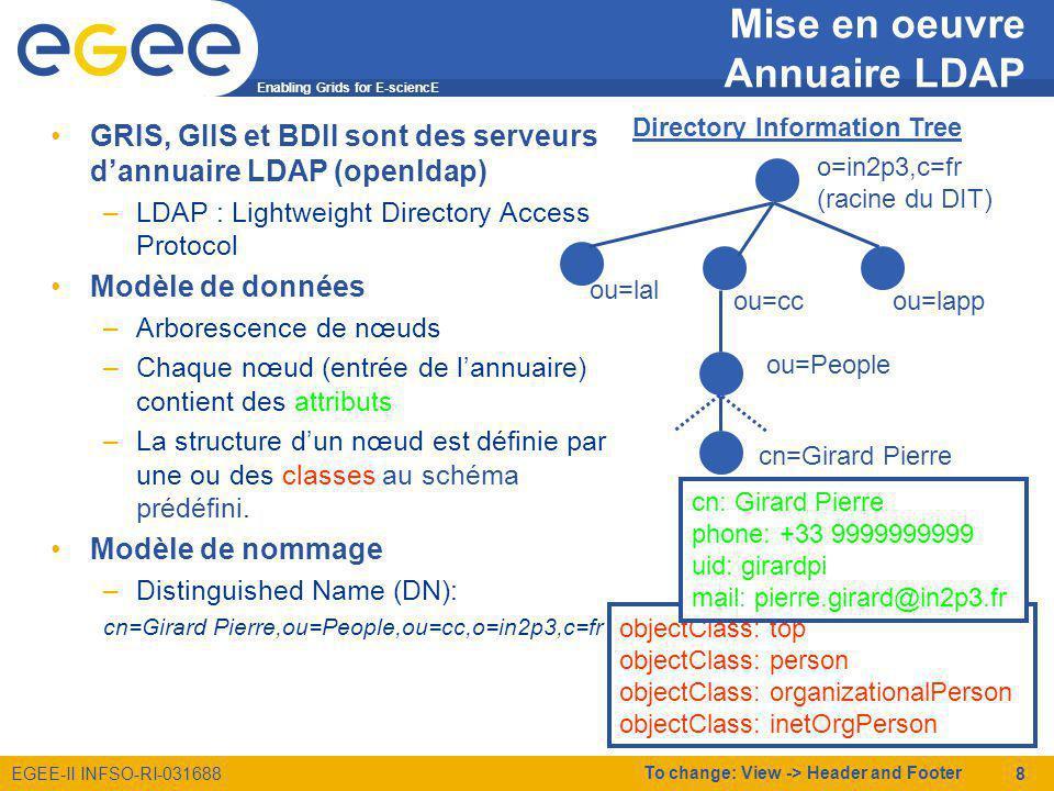 Enabling Grids for E-sciencE EGEE-II INFSO-RI-031688 To change: View -> Header and Footer 9 Mise en oeuvre Glue Schema La plupart des nœuds de la grille sont publiés sur le SI GLUE Schema (v1.2): –Définition de schémas LDAP décrivant chaque composant des ressources/services de la grille –http://glueschema.forge.cnaf.infn.it/ objectclass ( 1.3.6.1.4.1.8005.100.2.1.1 NAME GlueCE DESC Info for Computing Element service SUP GlueCETop STRUCTURAL MUST (GlueCEUniqueID) MAY (GlueCEName $ GlueCEHostingCluster)) objectclass ( 1.3.6.1.4.1.8005.100.2.1.2 NAME GlueCEInfo DESC General info for the Queue associated to the CE SUP GlueCETop AUXILIARY MAY (GlueCEInfoTotalCPUs $ GlueCEInfoLRMSType $ GlueCEInfoLRMSVersion $ GlueCEInfoGRAMVersion $ GlueCEInfoHostName $ GlueCEInfo GatekeeperPort $ GlueCEInfoContactString $ GlueCEInfoJobManager $ GlueCEInfoApplicationDir $ GlueCEInfoDataDir $ GlueCEInfoDefaultSE) )