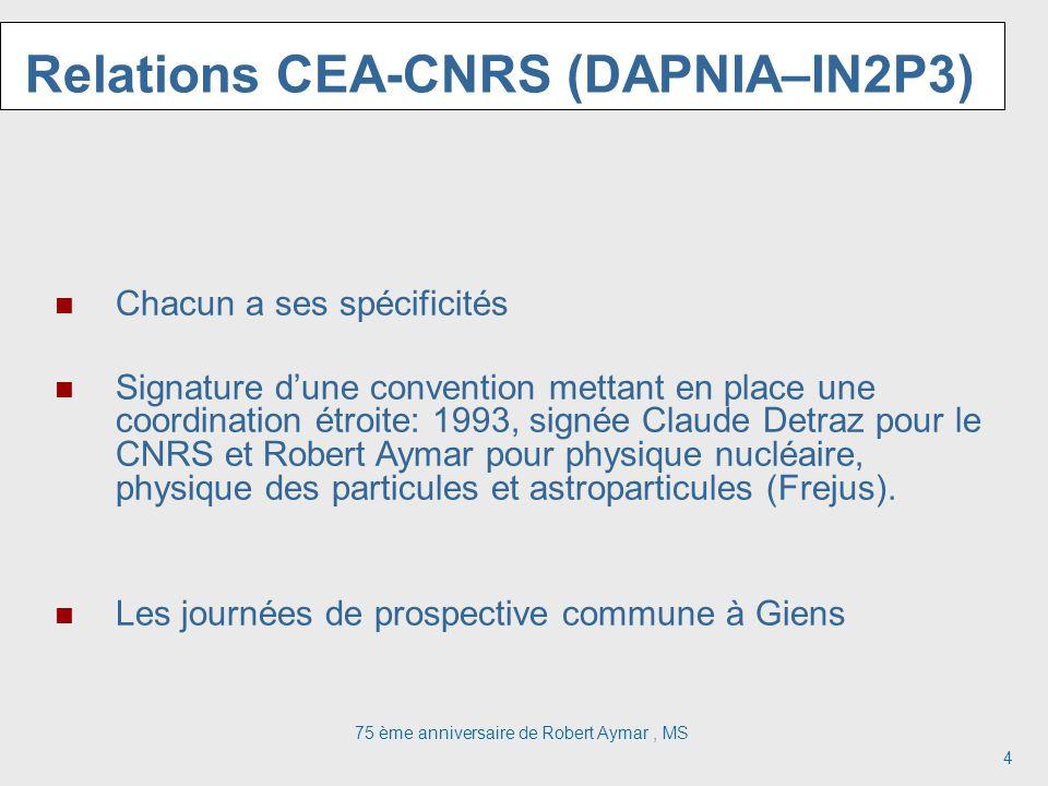 75 ème anniversaire de Robert Aymar, MS 4 Relations CEA-CNRS (DAPNIA–IN2P3) Chacun a ses spécificités Signature dune convention mettant en place une coordination étroite: 1993, signée Claude Detraz pour le CNRS et Robert Aymar pour physique nucléaire, physique des particules et astroparticules (Frejus).