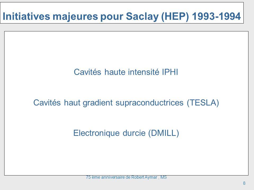 75 ème anniversaire de Robert Aymar, MS 8 Initiatives majeures pour Saclay (HEP) 1993-1994 Cavités haute intensité IPHI Cavités haut gradient supraconductrices (TESLA) Electronique durcie (DMILL)