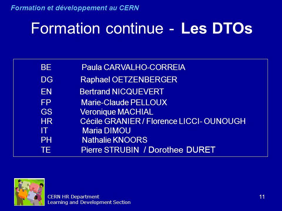 11 CERN HR Department Learning and Development Section BE Paula CARVALHO-CORREIA DG Raphael OETZENBERGER EN Bertrand NICQUEVERT FP Marie-Claude PELLOU