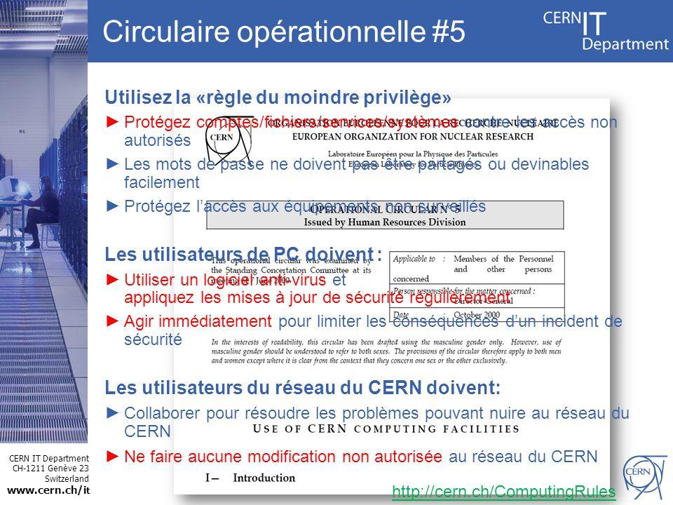 CERN IT Department CH-1211 Genève 23 Switzerland www.cern.ch/i t Utilisez la «règle du moindre privilège» Protégez comptes/fichiers/services/systèmes contre les accès non autorisés Les mots de passe ne doivent pas être partagés ou devinables facilement Protégez laccès aux équipements non surveillés Les utilisateurs de PC doivent : Utiliser un logiciel anti-virus et appliquez les mises à jour de sécurité régulièrement Agir immédiatement pour limiter les conséquences dun incident de sécurité Les utilisateurs du réseau du CERN doivent: Collaborer pour résoudre les problèmes pouvant nuire au réseau du CERN Ne faire aucune modification non autorisée au réseau du CERN Circulaire opérationnelle #5 http://cern.ch/ComputingRules