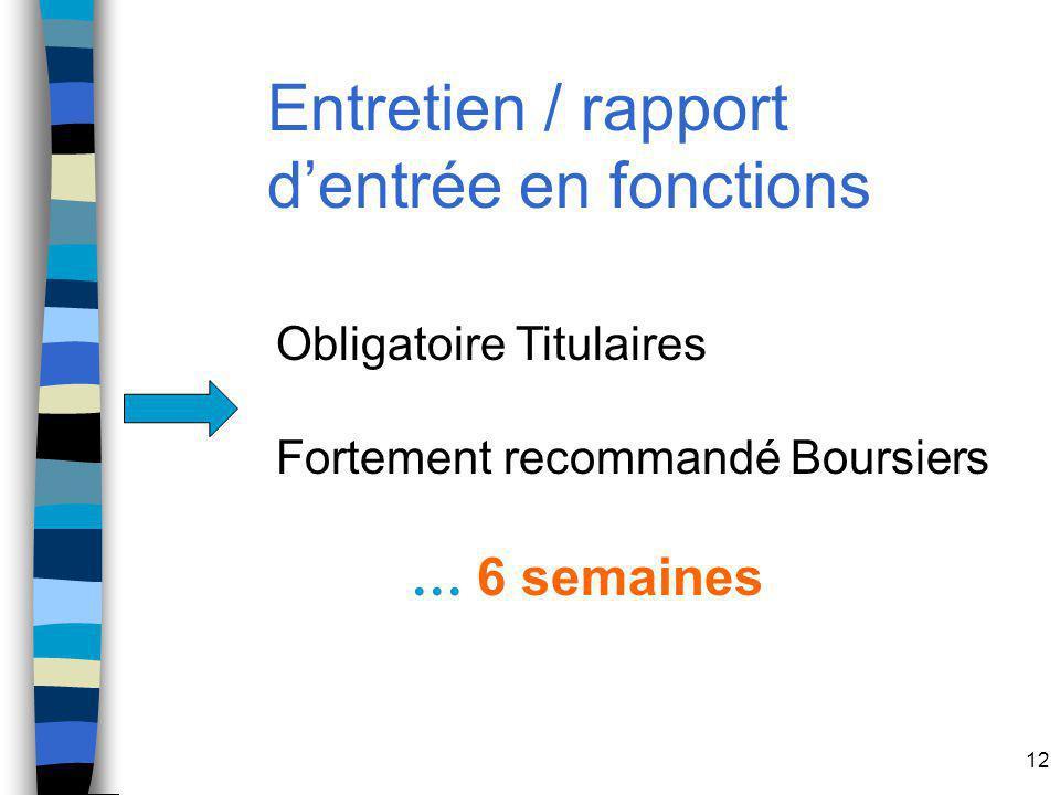 12 Entretien / rapport dentrée en fonctions Obligatoire Titulaires Fortement recommandé Boursiers … 6 semaines