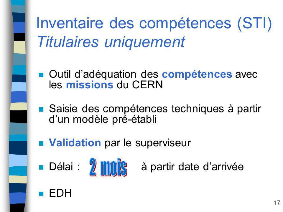 17 Inventaire des compétences (STI) Titulaires uniquement n Outil dadéquation des compétences avec les missions du CERN n Saisie des compétences techniques à partir dun modèle pré-établi n Validation par le superviseur n Délai : à partir date darrivée n EDH