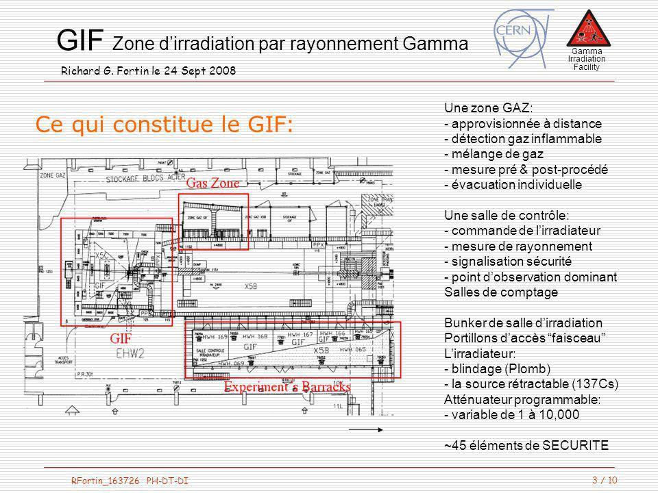 Gamma Irradiation Facility RFortin_163726 PH-DT-DI GIF Zone dirradiation par rayonnement Gamma Richard G. Fortin le 24 Sept 2008 3 / 10 Une zone GAZ: