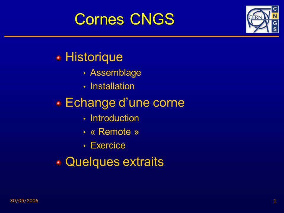 1 30/05/2006 1 Cornes CNGS Historique Assemblage Installation Echange dune corne Introduction « Remote » Exercice Quelques extraits