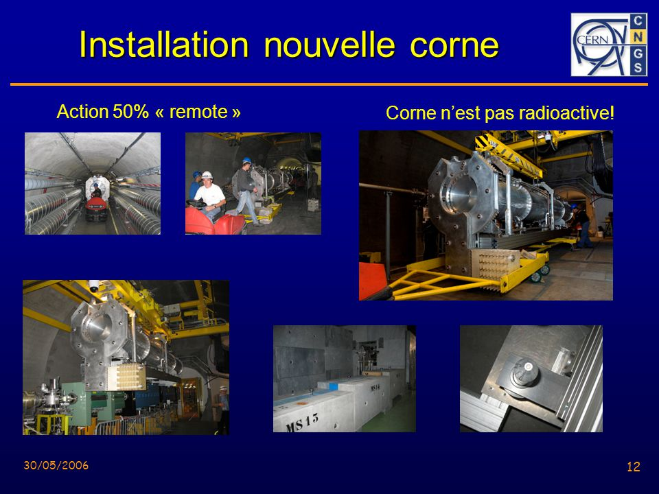 12 30/05/2006 12 Installation nouvelle corne Action 50% « remote » Corne nest pas radioactive!