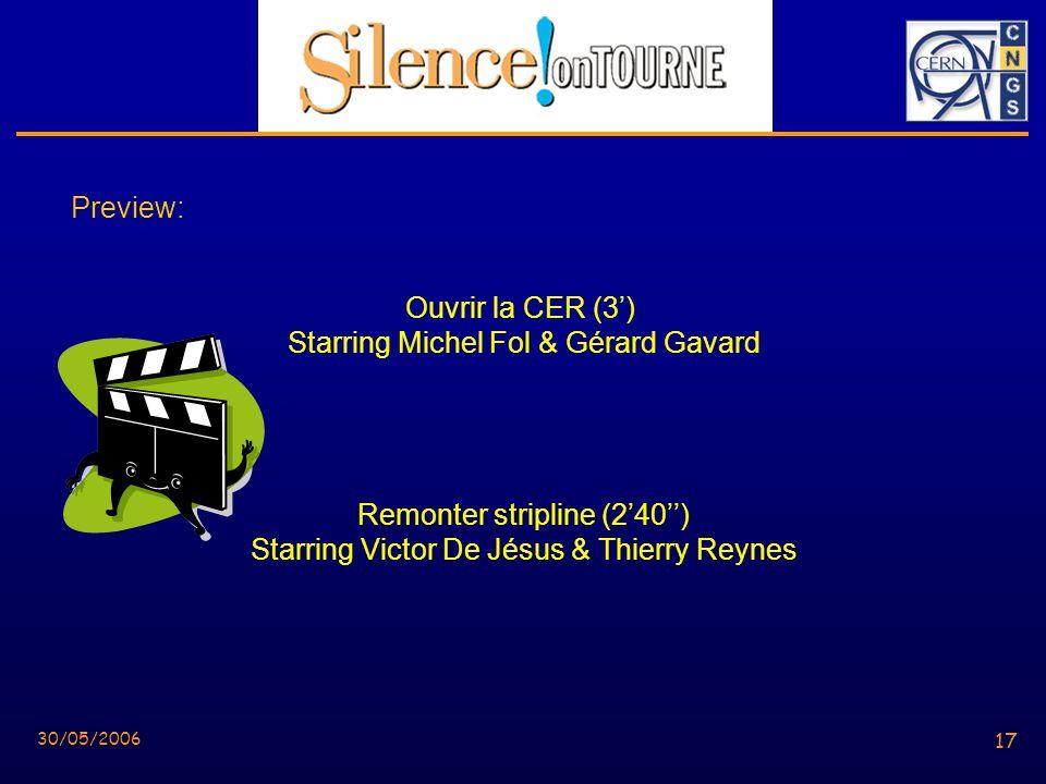17 30/05/2006 17 Preview: Ouvrir la CER (3) Starring Michel Fol & Gérard Gavard Remonter stripline (240) Starring Victor De Jésus & Thierry Reynes