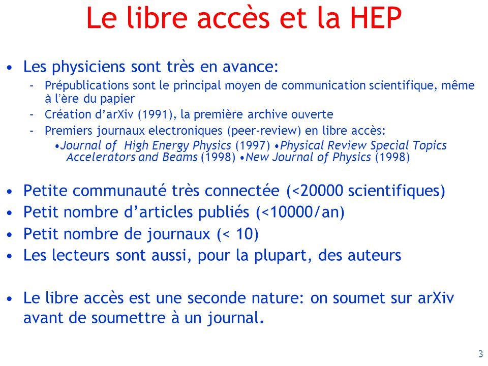 4 Très fort soutien de toute la communauté scientifique Les 5 collaborations du LHC (ALICE, ATLAS, CMS, LHCb, Totem)support the principles of Open Access Publishing, which includes granting free access of our publications to all.