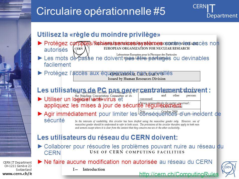 CERN IT Department CH-1211 Genève 23 Switzerland www.cern.ch/i t Utilisez la «règle du moindre privilège» Protégez comptes/fichiers/services/systèmes contre les accès non autorisés Les mots de passe ne doivent pas être partagés ou devinables facilement Protégez laccès aux équipements non surveillés Les utilisateurs de PC pas gerer centralement doivent : Utiliser un logiciel anti-virus et appliquez les mises à jour de sécurité régulièrement Agir immédiatement pour limiter les conséquences dun incident de sécurité Les utilisateurs du réseau du CERN doivent: Collaborer pour résoudre les problèmes pouvant nuire au réseau du CERN Ne faire aucune modification non autorisée au réseau du CERN Circulaire opérationnelle #5 http://cern.ch/ComputingRules