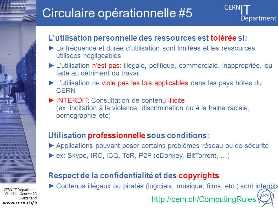 CERN IT Department CH-1211 Genève 23 Switzerland www.cern.ch/i t Circulaire opérationnelle #5 http://cern.ch/ComputingRules Lutilisation personnelle d