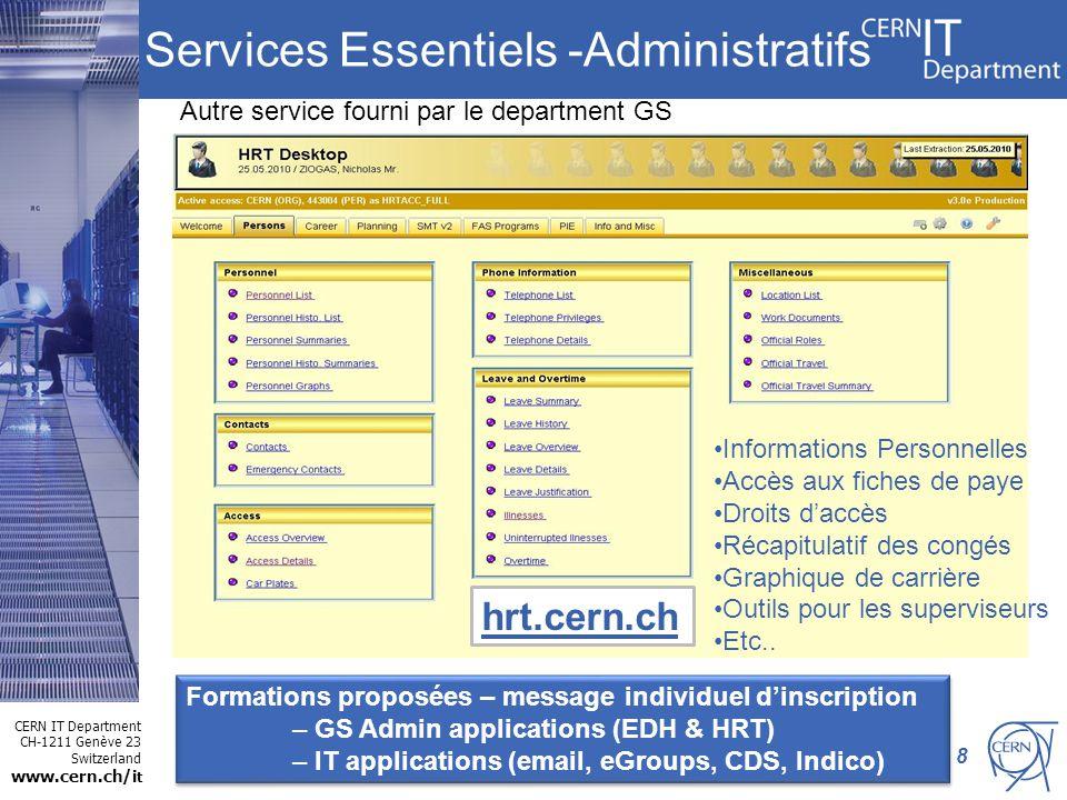 CERN IT Department CH-1211 Genève 23 Switzerland www.cern.ch/i t Services Essentiels -Administratifs 8 Informations Personnelles Accès aux fiches de p