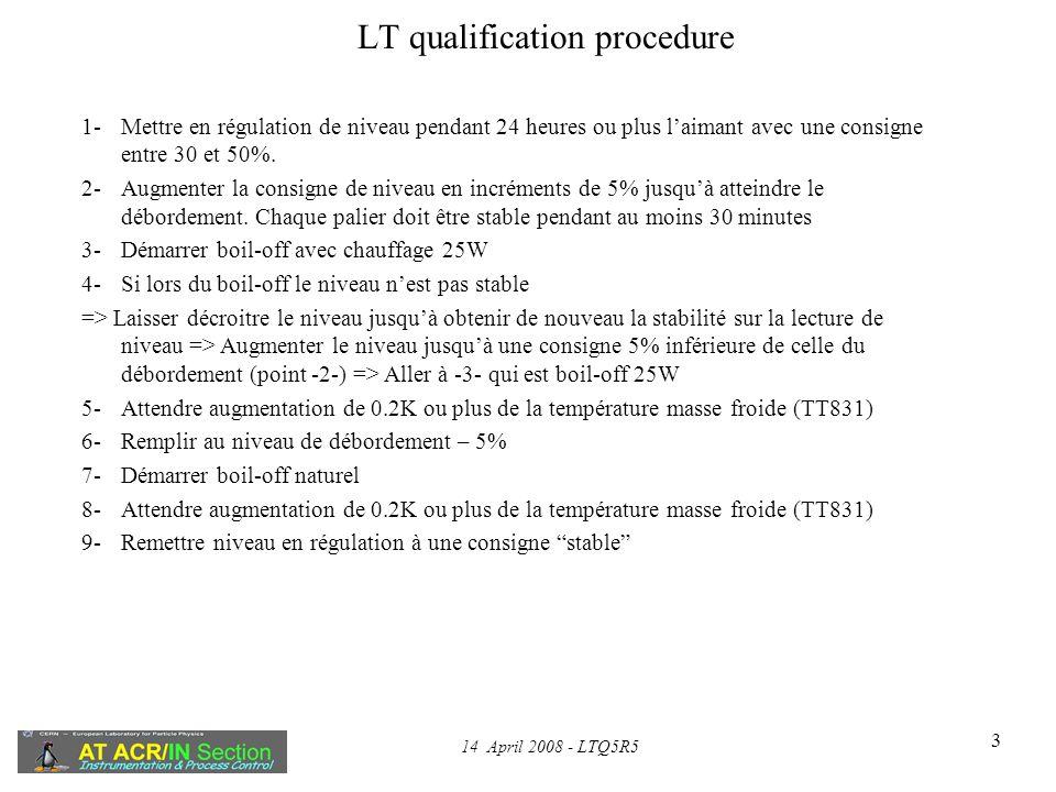 14 April 2008 - LTQ5R5 3 LT qualification procedure 1-Mettre en régulation de niveau pendant 24 heures ou plus laimant avec une consigne entre 30 et 50%.
